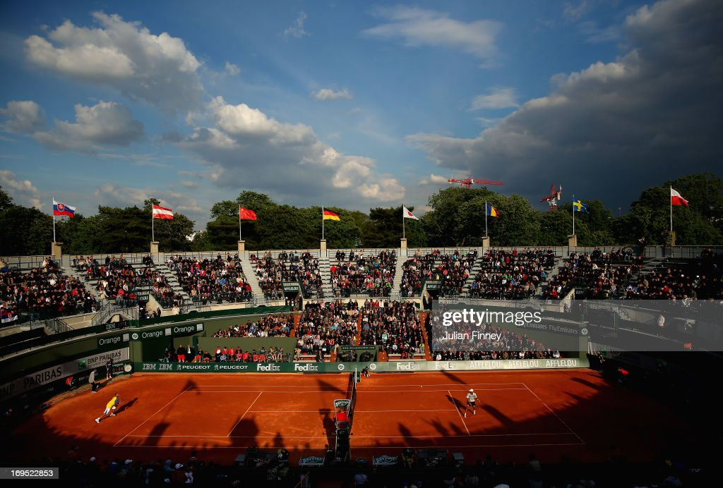 Viktor Troicki of Serbia in action against James Blake of the United States during their men's singles match on Court 1 during day one of the French Open at Roland Garros on May 26, 2013 in Paris, France.