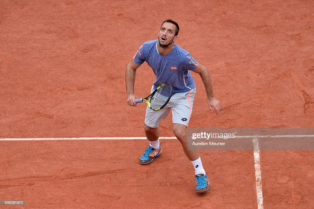 <a gi-track='captionPersonalityLinkClicked' href=/galleries/search?phrase=Viktor+Troicki&family=editorial&specificpeople=553829 ng-click='$event.stopPropagation()'>Viktor Troicki</a> of Serbia sin action during his men's singles fourth round match against Stanislas Wawrinka of Switzerland on day eight of the 2016 French Open at Roland Garros on May 29, 2016 in Paris, France.