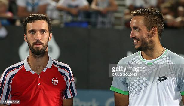 Viktor Troicki of Serbia smiles after defeating Mikhail Kukushkin of Kazakhstan in the men's singles final on day seven of the Sydney International...