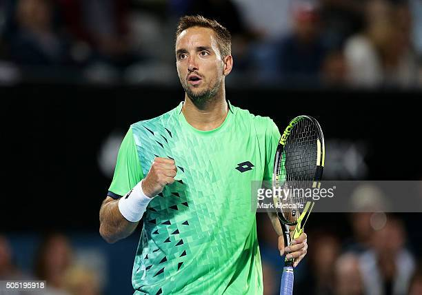 Viktor Troikci of Serbia celebrates winning a point in his men's final match against Grigor Dimitrov of Bulgaria during day seven of the 2016 Sydney...