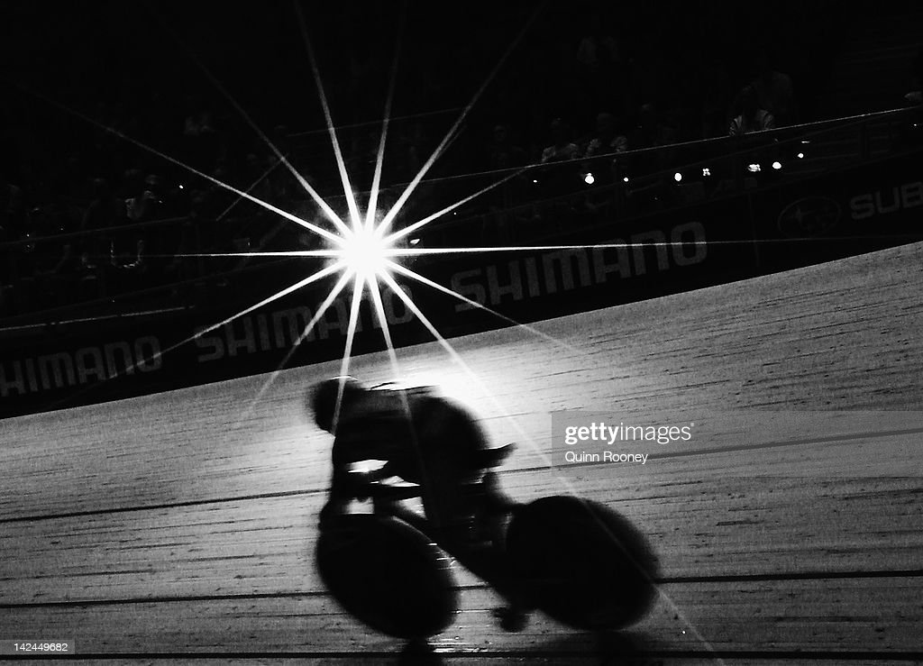 Viktoria Baranova of Russia competes in the Women's Sprint during day two of the 2012 UCI Track Cycling World Championships at Hisense Arena on April 5, 2012 in Melbourne, Australia.