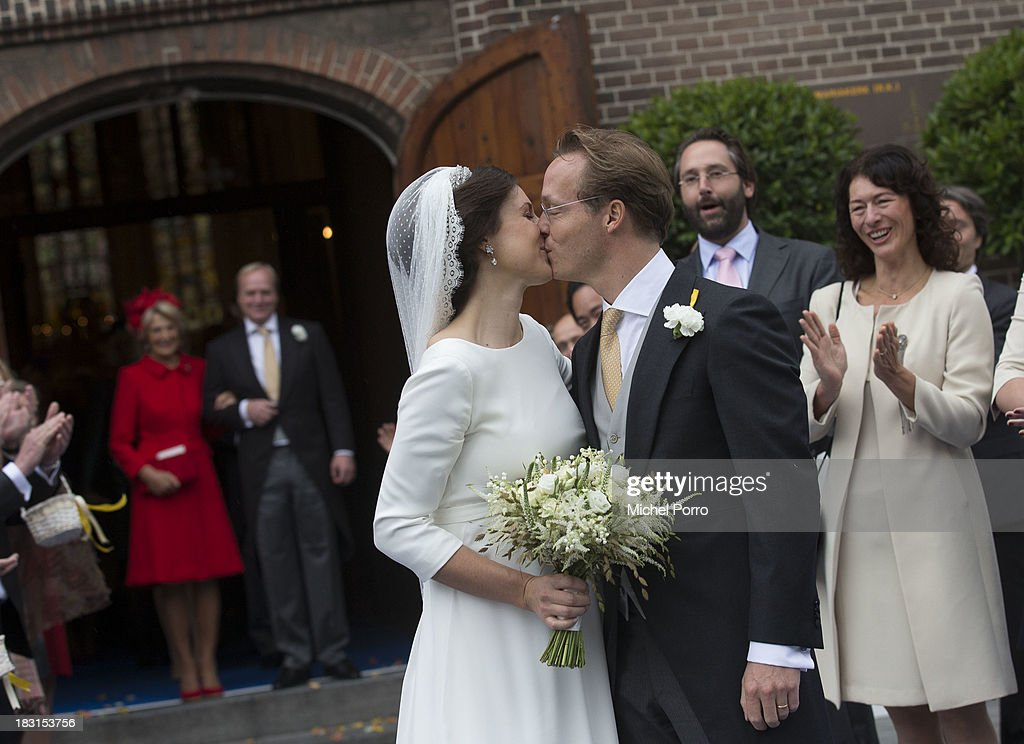 Viktoria Cservenyak and Prince Jaime de Bourbon Parme leave The Church Of Our Lady At Ascension on October 5, 2013 in Apeldoorn, Netherlands.