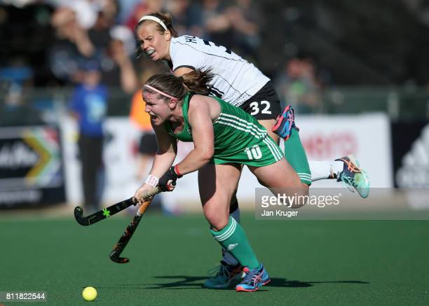 Viktoria Huse of Germany and Shirley McCay of Ireland battle for possession during day 2 of the FIH Hockey World League Semi Finals Pool A match...