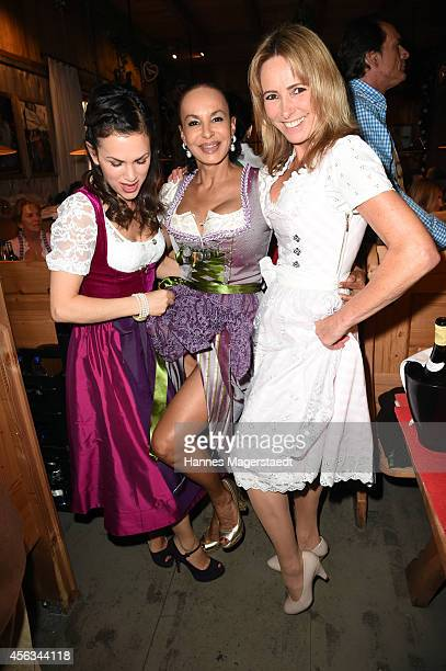 Viktoria Lauterbach Elke Sommer and Gundis Zambo attend the Sauerland Wiesn at Weinzelt during Oktoberfest at Theresienwiese on September 29 2014 in...