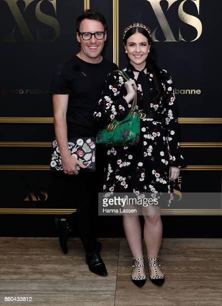 Viktoria Novak and Aaron Favaloro arrive ahead of the Paco Rabanne men's fragrance launch at the Ivy Penthouse on October 12 2017 in Sydney Australia