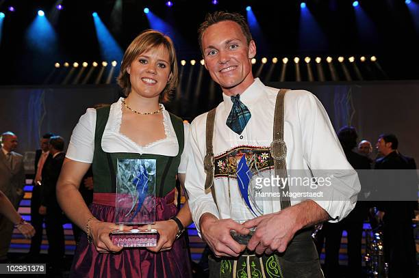 Viktoria Rebensburg and Alexander Resch receive the Bavarian Sport Award 2010 at the International Congress Center Munich on July 17 2010 in Munich...