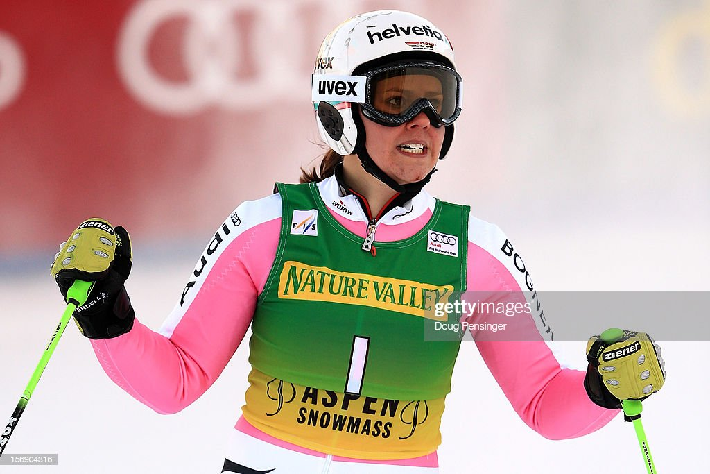 Viktoria Rebensburg celebrates as she finishes in third place in the women's giant slalom at the Nature Valley Aspen Winternational Audi FIS Ski World Cup at Aspen Mountain on November 24, 2012 in Aspen, Colorado.