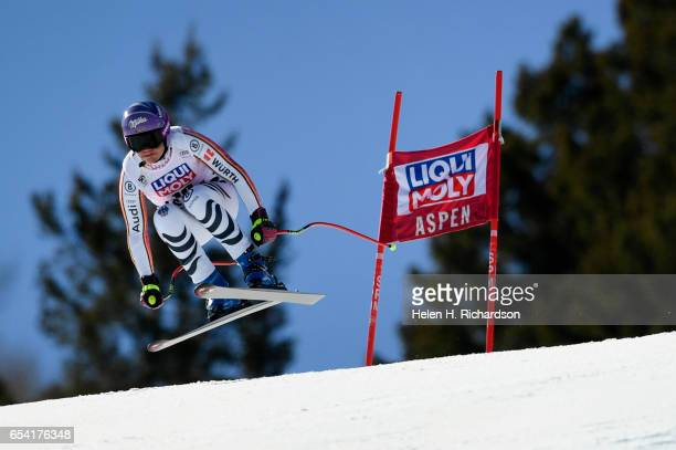 Viktoria Rebensburg GER makes her way down the women's World Cup Super G course on Aspen Mountain on March 16 2017 in Aspen Colorado