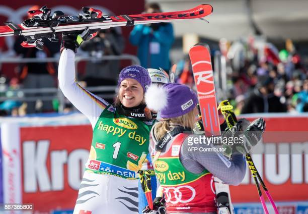 Viktoria Rebensburg of Germany celebrates after winning the women's Giant Slalom event of the FIS ski World cup in Soelden Austria on October 28 2017...