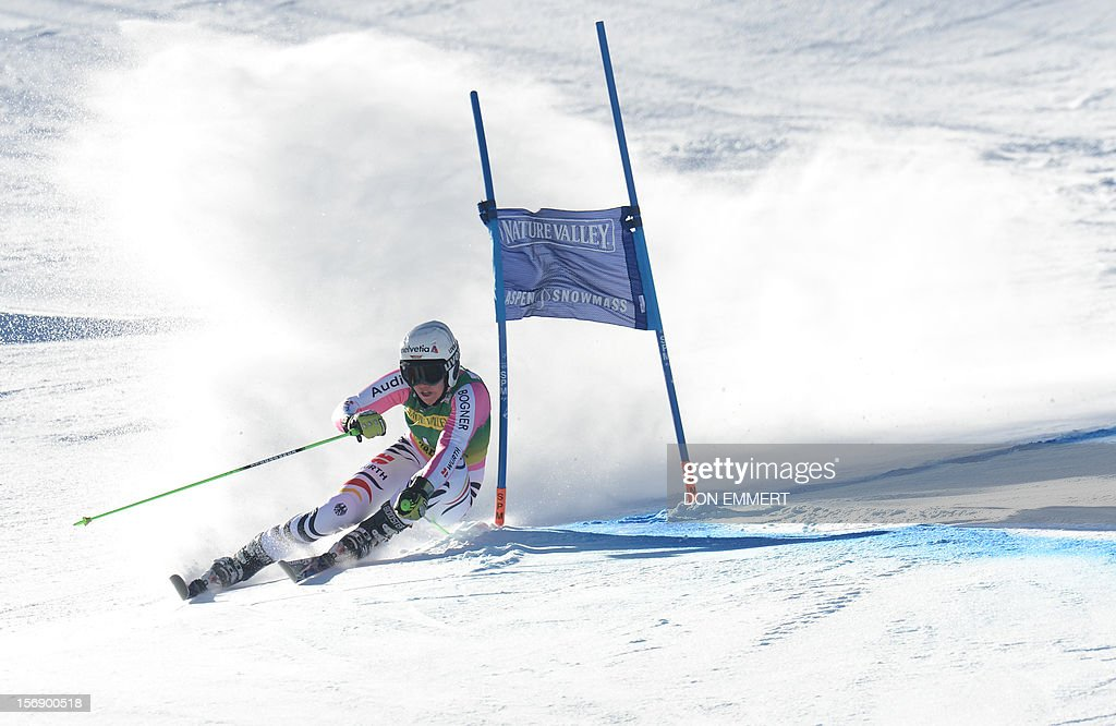 Viktoria Rebensburg of Germany clears a gate during the first run of the women's World Cup giant slalom in Aspen on November 24, 2012. AFP PHOTO/Don EMMERT