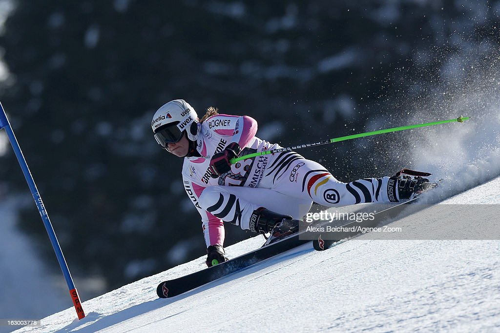 Viktoria Rebensburg of Germany competes during the Audi FIS Alpine Ski World Cup Women's SuperG on March 03, 2013 in Garmisch-Partenkirchen, Germany.