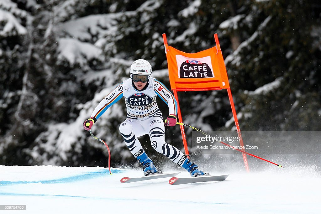 <a gi-track='captionPersonalityLinkClicked' href=/galleries/search?phrase=Viktoria+Rebensburg&family=editorial&specificpeople=4152387 ng-click='$event.stopPropagation()'>Viktoria Rebensburg</a> of Germany competes during the Audi FIS Alpine Ski World Cup Women's Downhill Training on February 12, 2016 in Crans Montana, Switzerland.