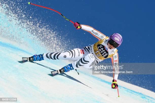 Viktoria Rebensburg of Germany competes during the Audi FIS Alpine Ski World Cup Women's SuperG on February 25 2017 in Crans Montana Switzerland
