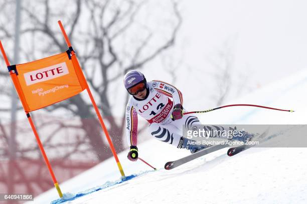 Viktoria Rebensburg of Germany competes during the Audi FIS Alpine Ski World Cup Women's Downhill Training on March 02 2017 in Jeongseon South Korea