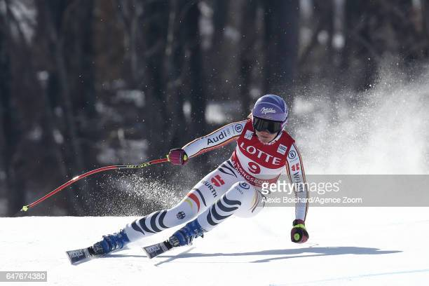 Viktoria Rebensburg of Germany competes during the Audi FIS Alpine Ski World Cup Women's Downhill on March 04 2017 in Jeongseon South Korea