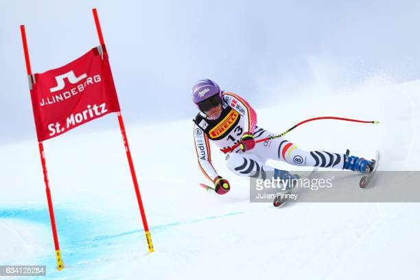 Viktoria Rebensburg of Germany competes during the Women's Super G during the FIS Alpine World Ski Championships on February 7 2017 in St Moritz...