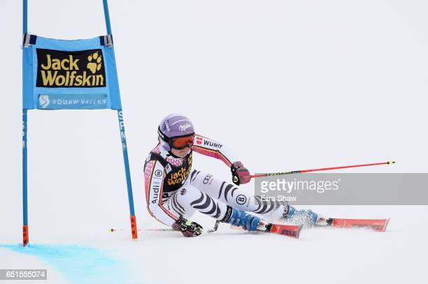 Viktoria Rebensburg of Germany competes in the first run of the Audi FIS World Cup Ladies' Giant Slalom on March 10 2017 in Squaw Valley California