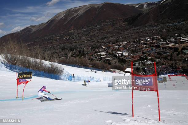 Viktoria Rebensburg of Germany competes in the Slalom during the 2017 Audi FIS Ski World Cup Finals at Aspen Mountain on March 19 2017 in Aspen...