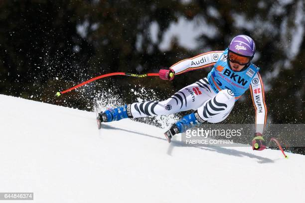 Viktoria Rebensburg of Germany competes in the Super G event during the Alpine Skiing FIS World Cup Ladies Alpine combined on February 24 2017 in...
