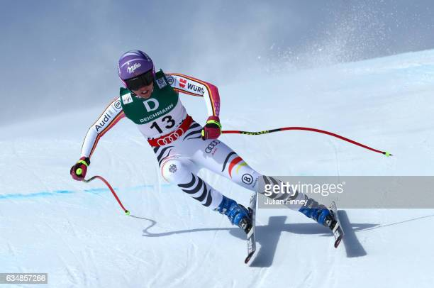 Viktoria Rebensburg of Germany competes in the Women's Downhill during the FIS Alpine World Ski Championships on February 12 2017 in St Moritz...