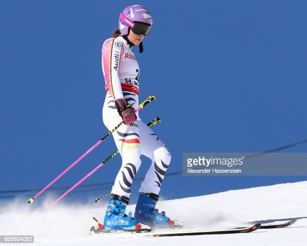 Viktoria Rebensburg of Germany competes in the Women's Giant Slalom during the FIS Alpine World Ski Championships on February 16 2017 in St Moritz...