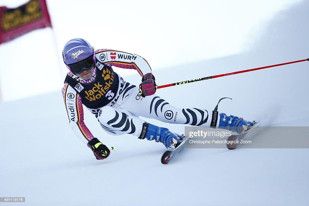 Viktoria Rebensburg of Germany in action during the Audi FIS Alpine Ski World Cup Women's Giant Slalom on January 07, 2017 in Maribor, Slovenia
