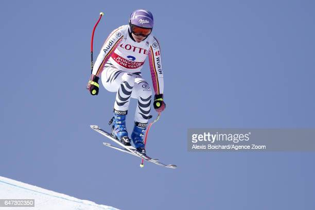 Viktoria Rebensburg of Germany in action during the Audi FIS Alpine Ski World Cup Women's Downhill Training on March 03 2017 in Jeongseon South Korea