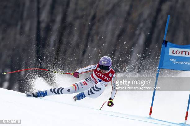 Viktoria Rebensburg of Germany in action during the Audi FIS Alpine Ski World Cup Women's SuperG on March 05 2017 in Jeongseon South Korea