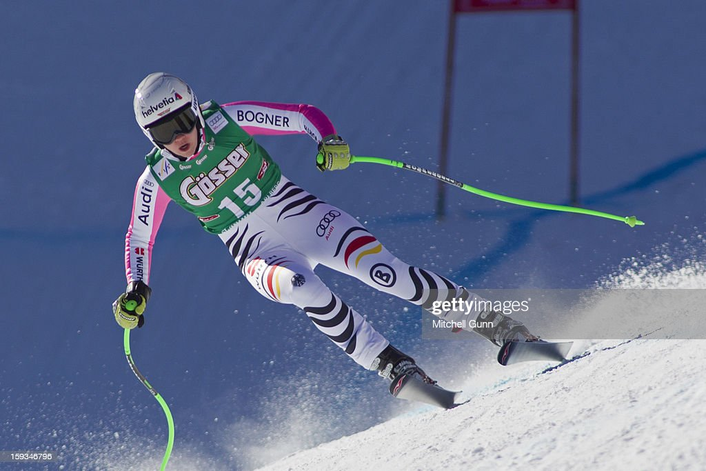 Viktoria Rebensburg of Germany races down the Kandahar course while competing in the Audi FIS Alpine Ski World Cup downhill race on January 12, 2013 in St Anton, Austria.