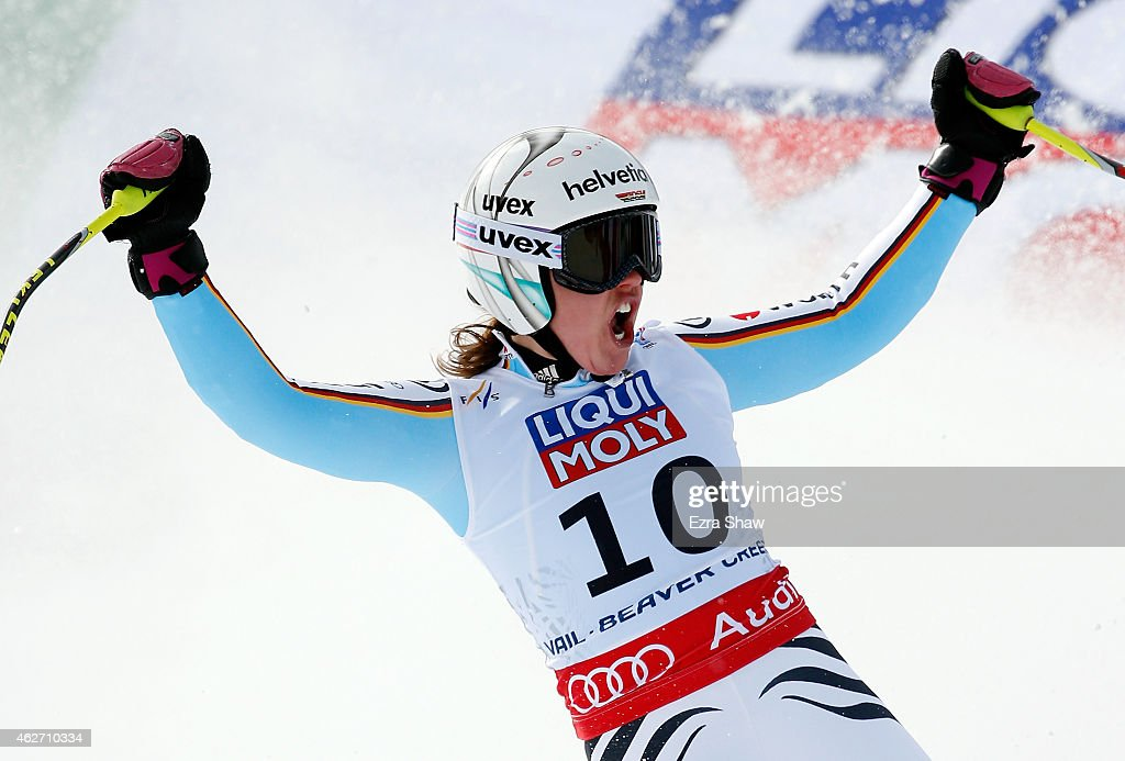 Viktoria Rebensburg of Germany reacts after crossing the finish line of the Ladies' Super-G in Red Tail Stadium on Day 2 of the 2015 FIS Alpine World Ski Championships on February 3, 2015 in Beaver Creek, Colorado.