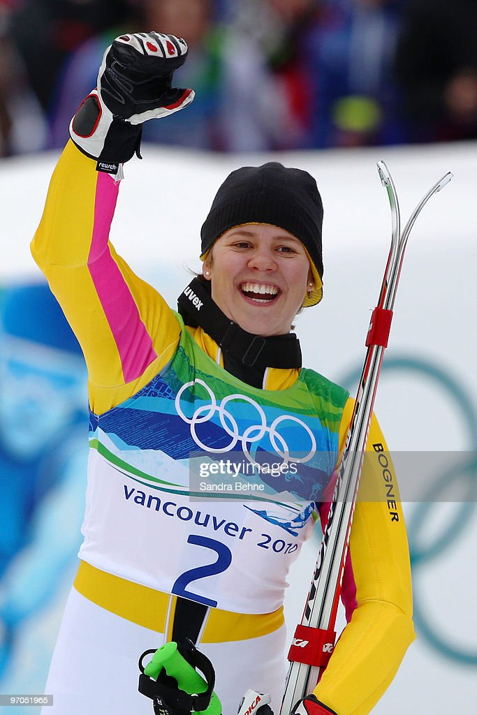 Viktoria Rebensburg of Germany reacts after she had completed her run competes during the Ladies Giant Slalom second run on day 14 of the Vancouver 2010 Winter Olympics at Whistler Creekside on February 25, 2010 in Whistler, Canada.