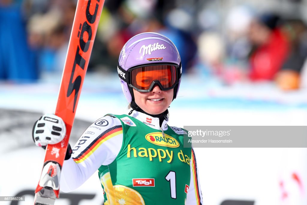 Viktoria Rebensburg of Germany reacts after the second run of the AUDI FIS Ski World Cup Ladies Giant Slalom on October 28, 2017 in Soelden, Austria.