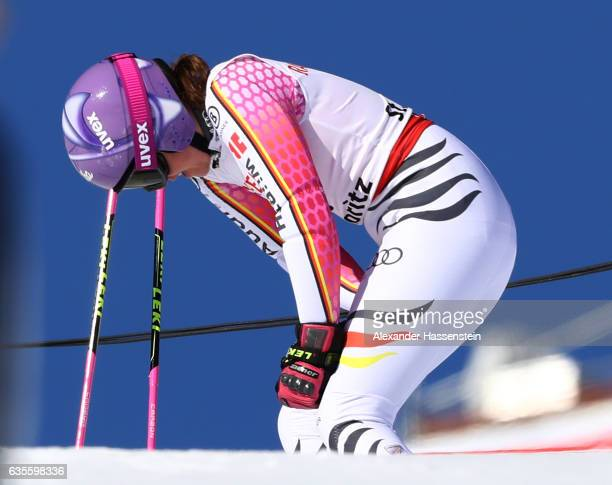Viktoria Rebensburg of Germany reacts as she fails to finish in the Women's Giant Slalom during the FIS Alpine World Ski Championships on February 16...