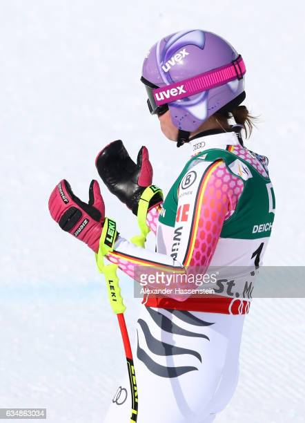 Viktoria Rebensburg of Germany reacts at the finish in the Women's Downhill during the FIS Alpine World Ski Championships on February 12 2017 in St...