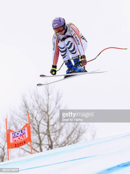 Viktoria Rebensburg of Germany skis during a training run for the men's downhill at the Audi FIS Ski World Cup Finals at Aspen Mountain on March 13...