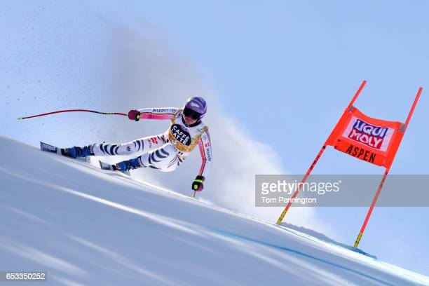 Viktoria Rebensburg of Germany skis during a training run for the ladies' downhill at the Audi FIS Ski World Cup Finals at Aspen Mountain on March 14...