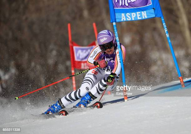 Viktoria Rebensburg of Germany skis her first run in the ladies' giant slalom during the 2017 Audi FIS Ski World Cup Finals at Aspen Mountain on...