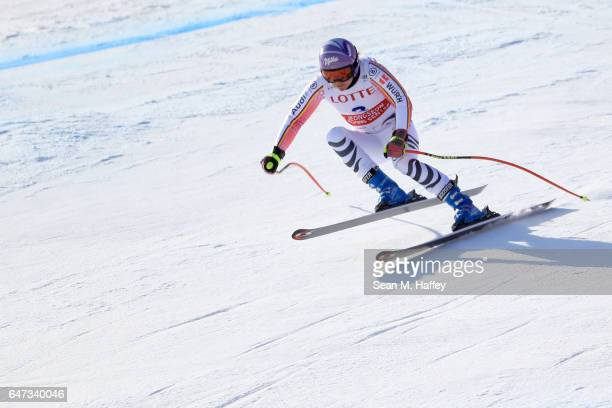 Viktoria Rebensburg of Germany skis the course during the Audi FIS Ski World Cup 2017 Ladies' Downhill Training at the Jeongseon Alpine Centre on...