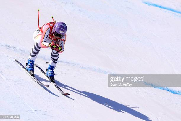 Viktoria Rebensburg of Germany skis the course during the Audi FIS Ski World Cup 2017 Ladies' Downhill at the Jeongseon Alpine Centre on March 4 2017...