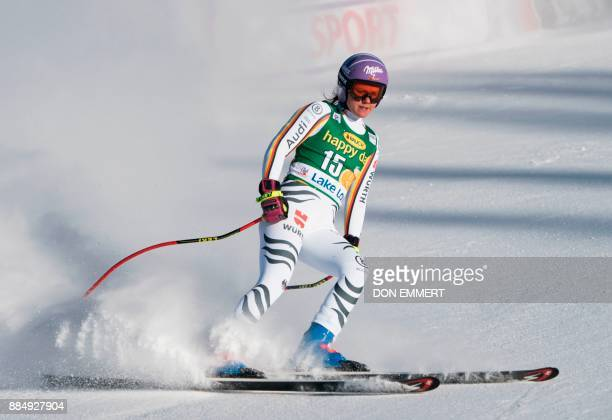 Viktoria Rebensburg of Germany slides to a 13th place finish during the FIS Ski World Cup Women's Super G on December 3 2017 in Lake Louise Canada /...