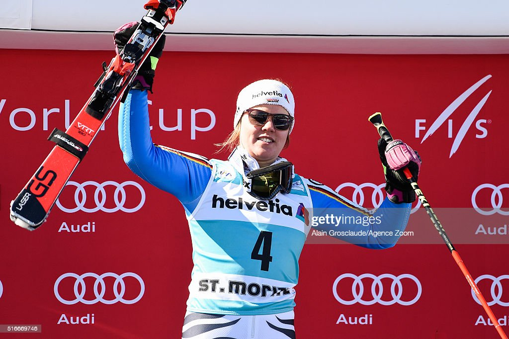 Viktoria Rebensburg of Germany takes 1st place during the Audi FIS Alpine Ski World Cup Finals Men's Slalom and Women's Giant Slalom on March 20 2016...