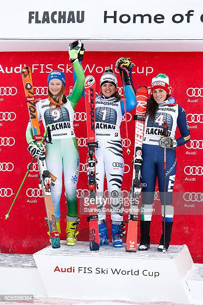 Viktoria Rebensburg of Germany takes 1st place Federica Brignone of Italy takes 3rd place Ana Drev of Slovenia takes 2nd place during the Audi FIS...