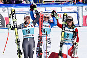 Viktoria Rebensburg of Germany takes 1st place Taina Barioz of France takes 2nd place Lara Gut of Switzerland takes 3rd place during the Audi FIS...