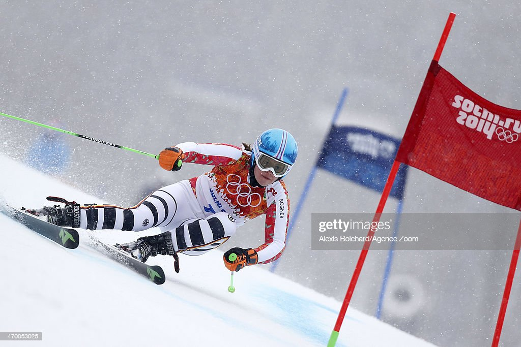 Viktoria Rebensburg of Germany wins the bronze medal during the Alpine Skiing Women's Giant Slalom at the Sochi 2014 Winter Olympic Games at Rosa Khutor Alpine Centre on February 18, 2014 in Sochi, Russia.