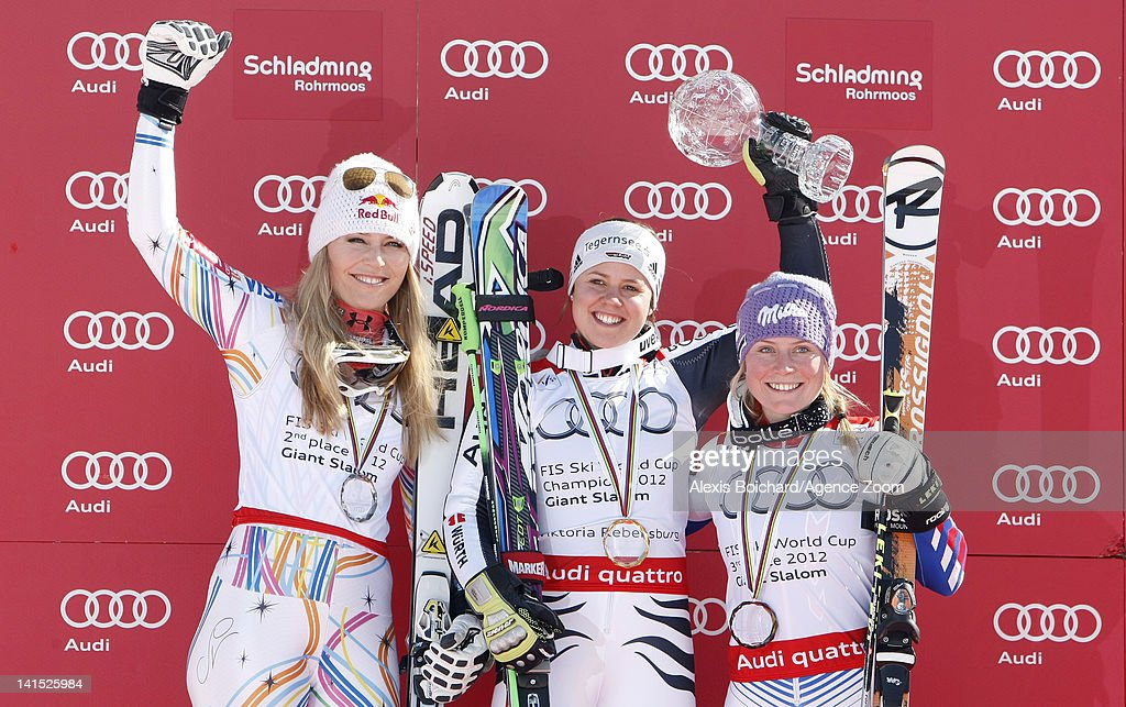 <a gi-track='captionPersonalityLinkClicked' href=/galleries/search?phrase=Viktoria+Rebensburg&family=editorial&specificpeople=4152387 ng-click='$event.stopPropagation()'>Viktoria Rebensburg</a> of Germany wins the last race and the Overall World Cup Giant Slalom globe, <a gi-track='captionPersonalityLinkClicked' href=/galleries/search?phrase=Lindsey+Vonn&family=editorial&specificpeople=4668171 ng-click='$event.stopPropagation()'>Lindsey Vonn</a> of the USA takes 2nd place, <a gi-track='captionPersonalityLinkClicked' href=/galleries/search?phrase=Tessa+Worley&family=editorial&specificpeople=855344 ng-click='$event.stopPropagation()'>Tessa Worley</a> of France takes 3rd place on March 18, 2012 in Schladming, Austria.
