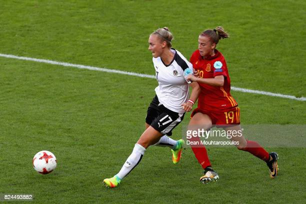 Viktoria Schnaderbeck of Austria and Barbara Latorre of Spain battle for possession during the UEFA Women's Euro 2017 Quarter Final match between...