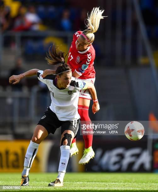 Viktoria Schnaderbeck of Austria and Line Jensen of Denmark during the UEFA Women's EURO 2017 Semifinal match between Austria and Denmark at Rat...