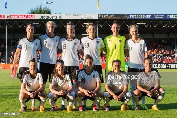 Viktoria Schnaderbeck of Austria Carina Wenninger of Austria Virginia Kirchberger of Austria Lisa Makas of Austria goalkeeper Manuela Zinsberger of...