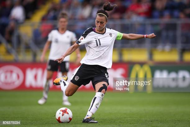 Viktoria Schnaderbeck of Austria controls the ball during the UEFA Women's Euro 2017 Semi Final match between Denmark and Austria at Rat Verlegh...