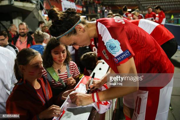 Viktoria Schnaderbeck of Austria gives an autograph after the Group C match between Iceland and Austria during the UEFA Women's Euro 2017 at Sparta...